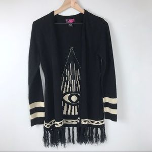 Say What? open front cardigan w/ eye design Large